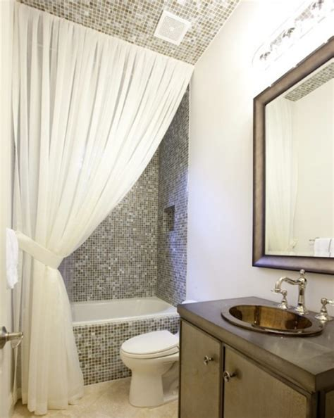 bathroom drapery ideas making your bathroom look larger with shower curtain ideas