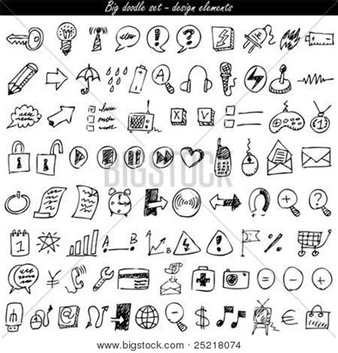 doodle free website doodle icon set web vector photo bigstock