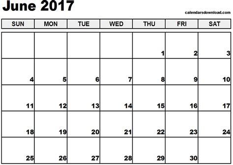 Free Calendars June 2017 Calendar Printable Templates Printable