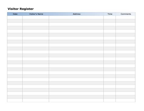 free printable visitor register list or sign up form