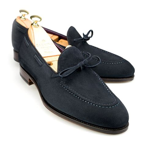 navy loafer string loafer in navy suede carmina