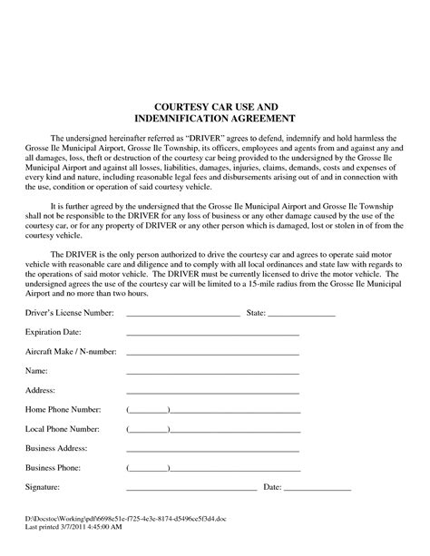 bailment agreement template bailment agreement form images search