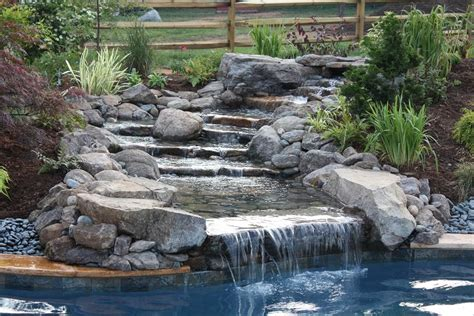 how to build a waterfall into a pool cascade pool waterfalls pools for home