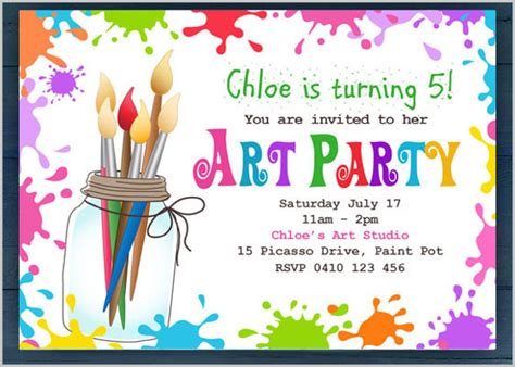 children s painting free invitation templates 27 free psd vector eps ai