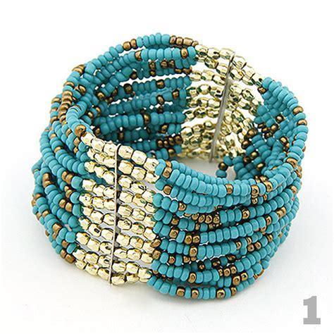 Beaded Bangles Handmade - golden and plastic bracelet on luulla