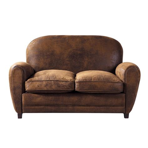 brown suede sofa bed 2 seater microsuede sofa in brown arizona maisons du monde