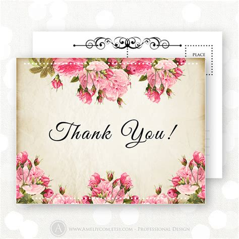 printable flowers for cards printable thank you card bridal shower rustic flowers pink