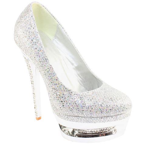 womens high heel diamante encrusted platform heel silver