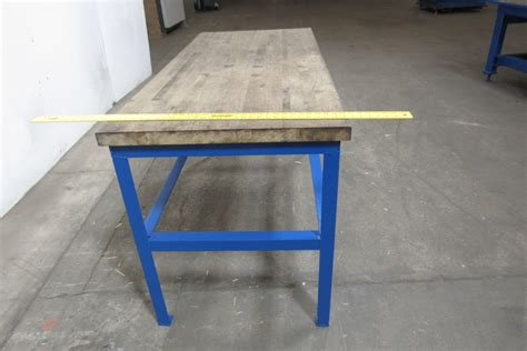 assembly benches 30x67 quot butcher block steel industrial work assembly table