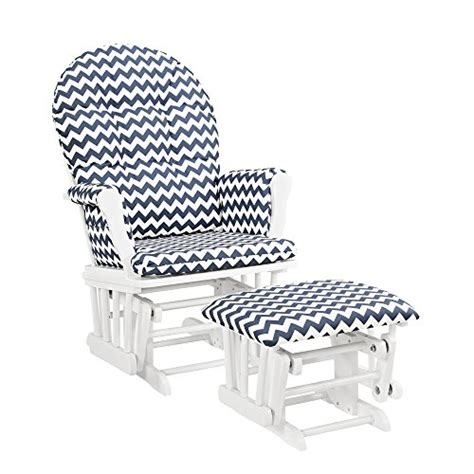 navy glider and ottoman windsor glider and ottoman white w navy chevron furniture