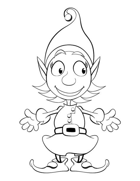 printable elf coloring picture girl elf free printable coloring pages