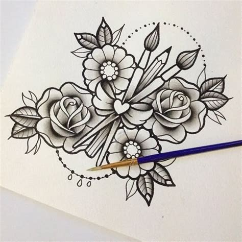 paintbrush tattoo designs 26 paintbrush and and pencil tattoos