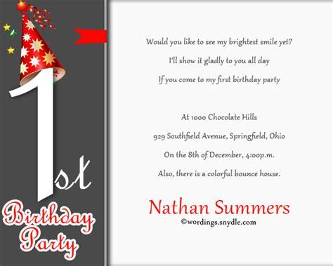 sle of birthday invitation wordings 1st birthday invitation wording wordings and messages