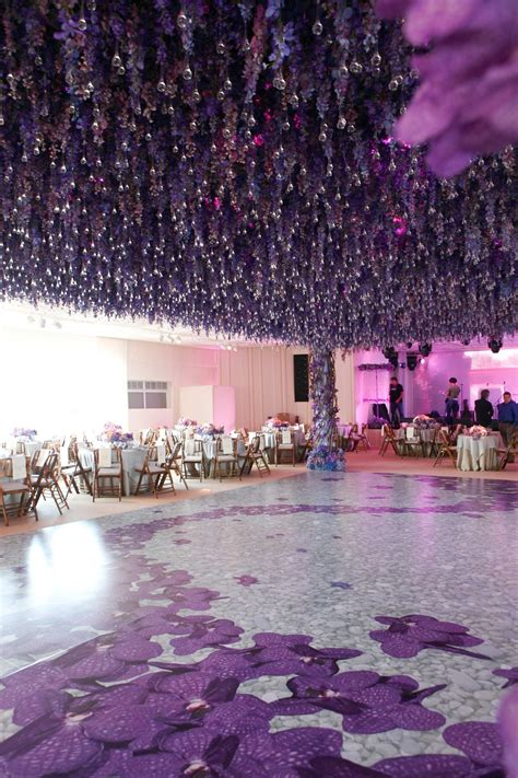 Wedding Aisle Flooring by Reception D 233 Cor Photos Hanging Purple Flowers