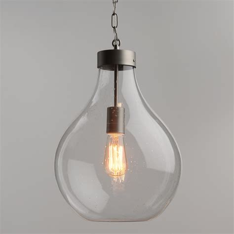 market pendant light seeded glass teardrop zinc cara pendant market