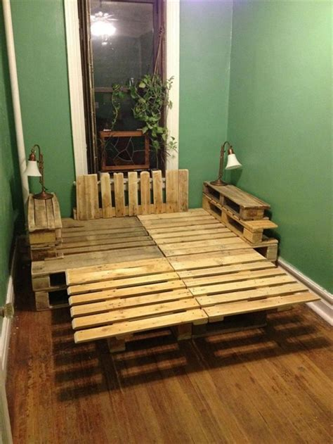 pallet bed frame plans 9 ways to create bed frames out of used pallet wood