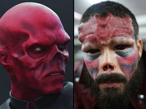 faith like this skull superfan chops tip of his nose to look like marvel