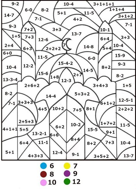 Math Equation Coloring Pages | color by math addition equations coloring pages