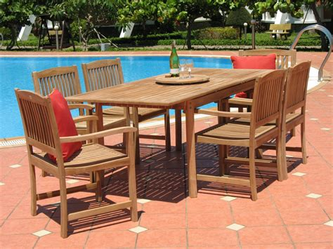 Outdoor Table Ls For Patio Pebble Living 7 Teak Patio Dining Set Patio Table