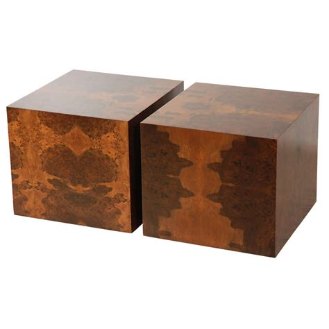 Coffee Table Cube Pair Of Burl Cube Tables By Lawson Fenning At 1stdibs