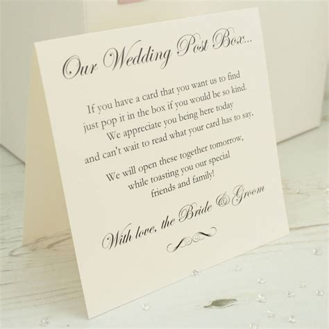 Wedding Box Poem personalised wedding post box by dreams to reality design