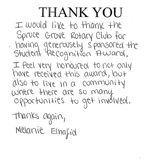 thank you letter to speech stories rotary club of spruce grove