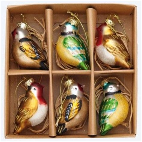 christmas tree decorations glass birds christmas decorating