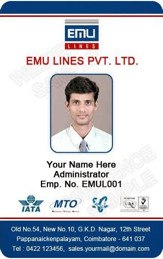 employee id card template free id card coimbatore ph 97905 47171 free photo id card