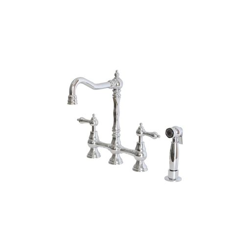 foret kitchen faucet foret 2 handle bridge kitchen faucet with side sprayer and metal lever handles in chrome