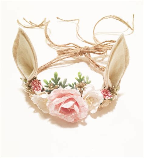 Crown Headband woodland deer flower crown photo prop baby tieback