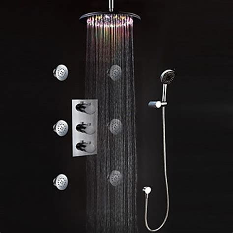 Wall Mount Shower Faucet by Led Wall Mount Thermostatic Shower Faucet With Bodysprays
