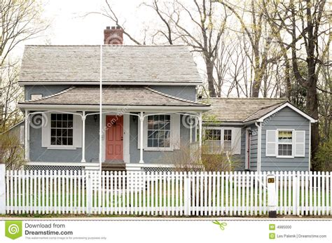 old house with a white picket stock photo image 4985000