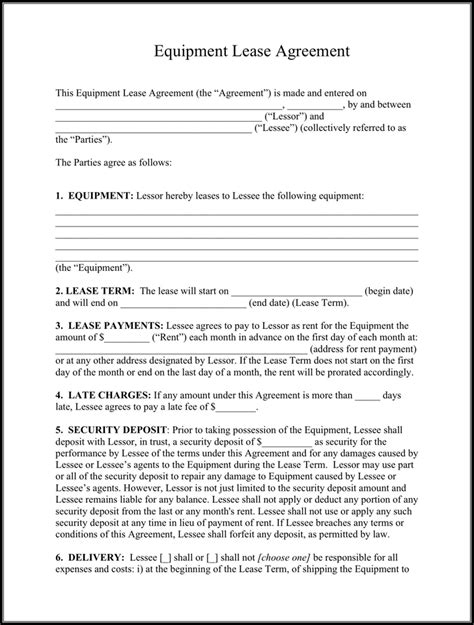 equipment rental agreement template equipment lease agreement template free