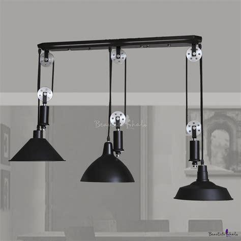 pulley pendant lighting black 3 light pulley large pendant light beautifulhalo