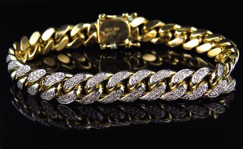 Mens Solid 10K Yellow Gold Miami Curb Cuban Link Diamond Bracelet 10mm 5.0 Ct   eBay