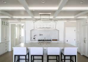 White Coffered Ceiling by California House With Crisp White Coastal Interiors