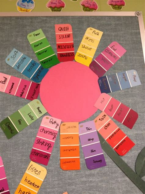 theme verb synonym synonym garden using paint strips such a cute idea for