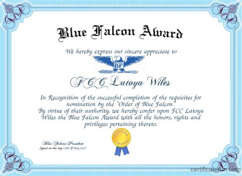 Blue Falcon Award Certificate   Created with