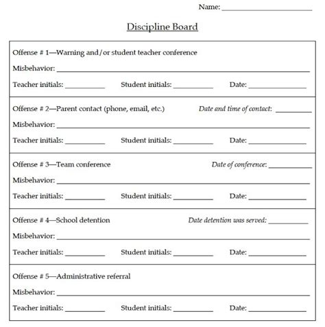 obertopia behavior accountability discipline board very