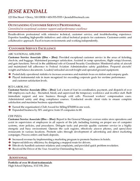 sle of resume for customer service exle customer service associate resume free sle