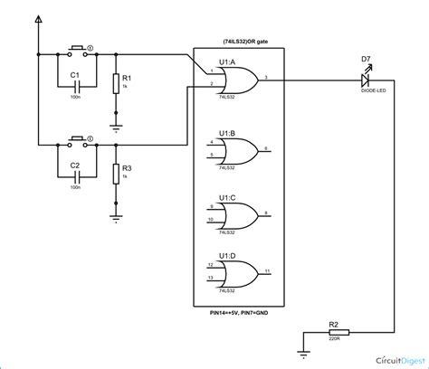 or gate schematic diagram or gate circuit diagram using ic 74ls32