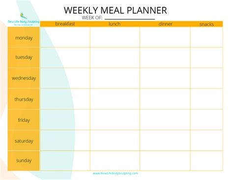 free printable meal planner for weight loss free printable weekly meal planner new life weight loss