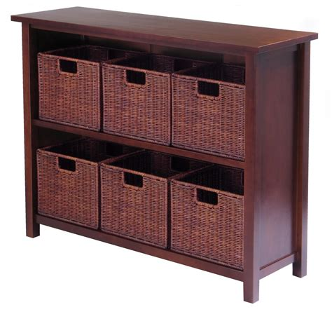 storage bookcase with baskets milan 7pc storage shelf with baskets ojcommerce