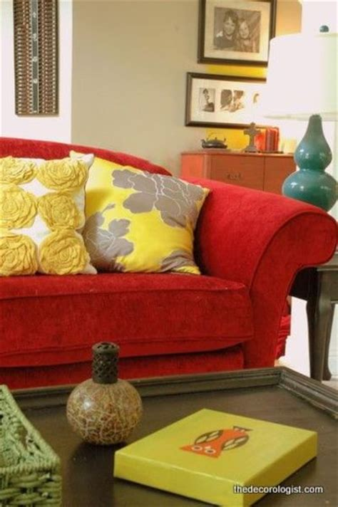 pillows for red couch red couch yellow pillows turq l for the home