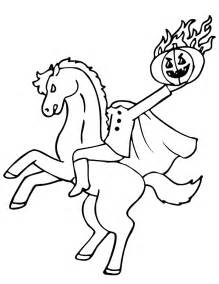 headless horseman coloring page with fiery pumpkin