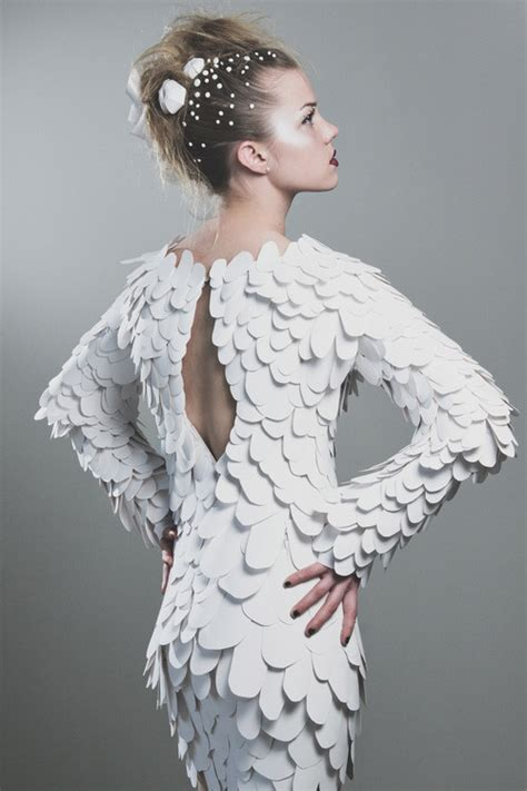 Paper Dresses - white reef handcut paper dress