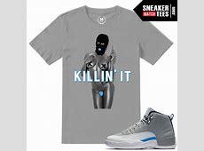 Match Wolf Grey t shirts Jordan 12 | Sneaker Match Tees Jordan 12 French Blue Shirt