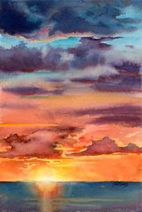 water color sunset williams quot sunset i quot watercolour