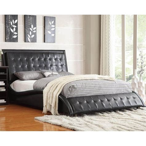 upholstered queen bed coaster tully upholstered queen bed in black 300362q