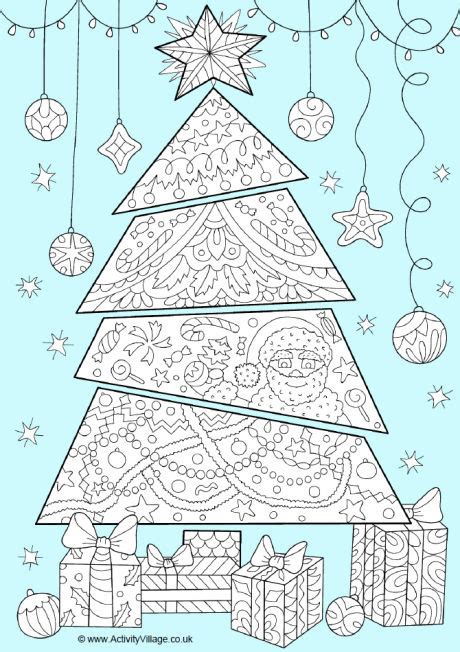 activity village christmas tree colour pop colouring page